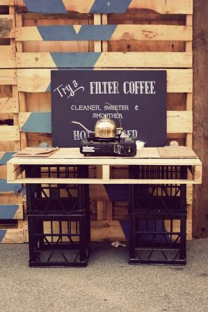 The Depot – Franklin St, Adelaide, Australia.  Pop-Up Coffee -Could anything be more simple with chalkboard, crate and pallet design yet so inviting? popuprepublic.com