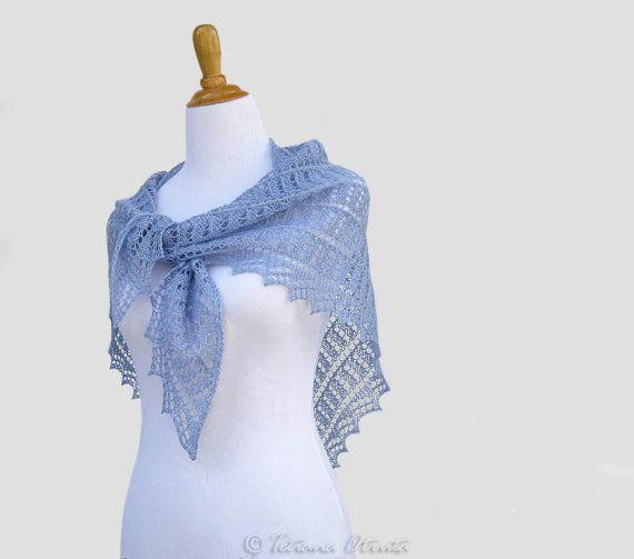 Geometric blue shawl hand knit lace scarf wrap gift women