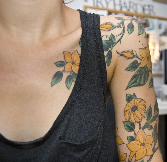 squash blossoms, black-eyed susans and flax flower sleeve