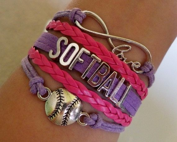 Softball bracelet softball player Infinity love by SummerWishes