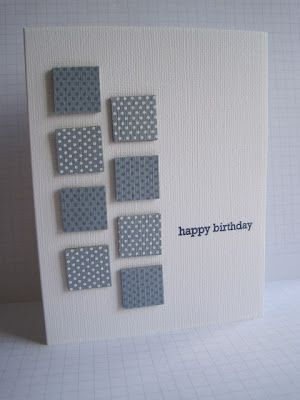 Eight gray squares...one small sentiment...equisite placement...clean and elegant card...