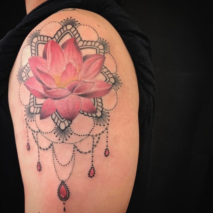 realistic lotus mandala tattoo on a shoulder with some. Black Bedroom Furniture Sets. Home Design Ideas