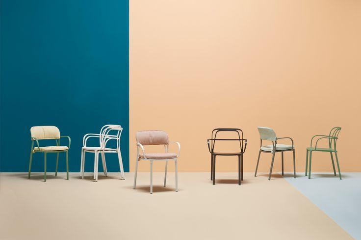 Colorful cushions for Intrigo armchair #pedrali #chair #outdoor #green #white