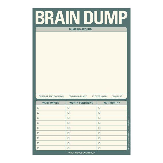 Knock Knock Brain Dump Pad is a perfect brainstorm note-taking tool. Fun and quirky gift ideas for work. Knock Knock Pads are fun executive gifts.