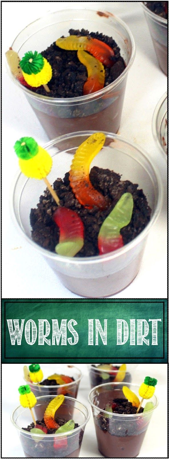 "Worms in Dirt Here's the CLASSIC!!! Gummy Worms wiggling through a bed of ""Dirt"" (Smashed cookies and cream) and burrowing deep into pools of Chocolate Fudge Pudding! Easy to make snack perfect for Children;s Church. Kids LOVE these!"