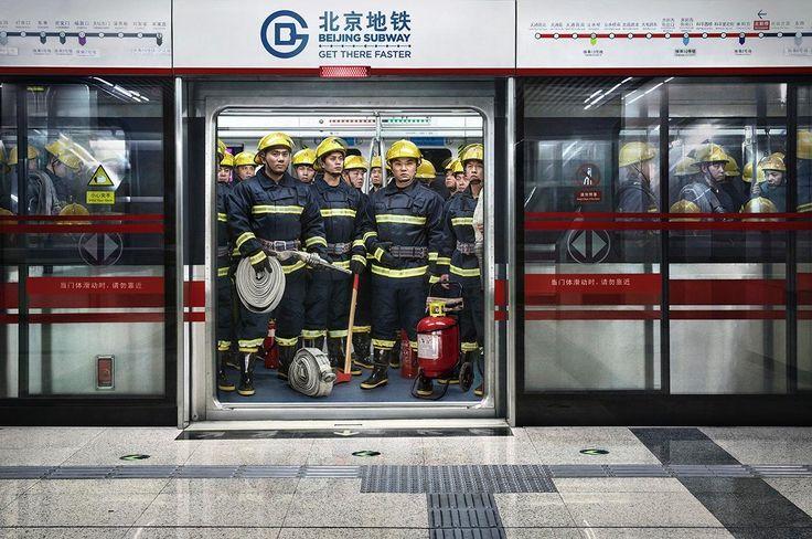 Beijing Subway: Firemen | by Grey, Beijing, 2015