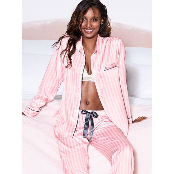 The Afterhours Satin Pajama - Victoria's Secret (710 SEK) ❤ liked on Polyvore featuring intimates, sleepwear, pajamas, victoria secret pajamas, satin sleepwear, satin pyjamas, victoria's secret and satin pajamas