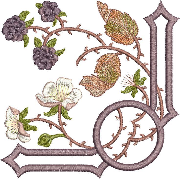 Bramble corner embroidery design by Sue Box