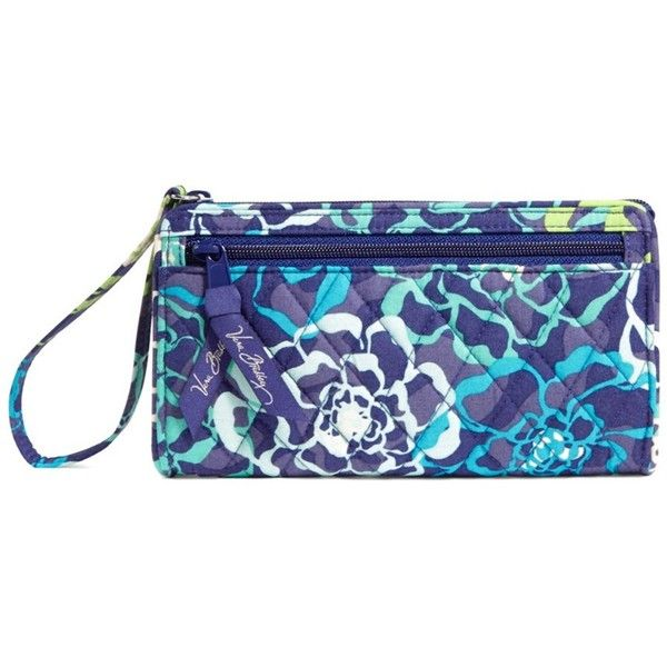 Vera Bradley Vera Bradley Katalina Blues Front Zip Wristlet... ($25) ❤ liked on Polyvore featuring bags, handbags, clutches, multi, cotton purse, vera bradley purses, blue purse, wristlet purse and zipper purse