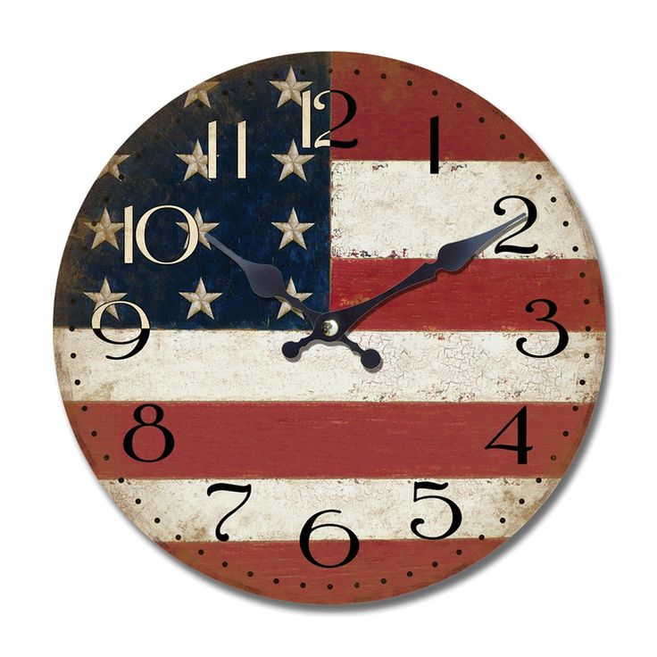 Shop Yosemite Home Decor Yosemite Home Décor CLKA7189 14-in Circular Wooden Wall Clock with American flag print at ATG Stores. Browse our wall clocks, all with free shipping and best price guaranteed.