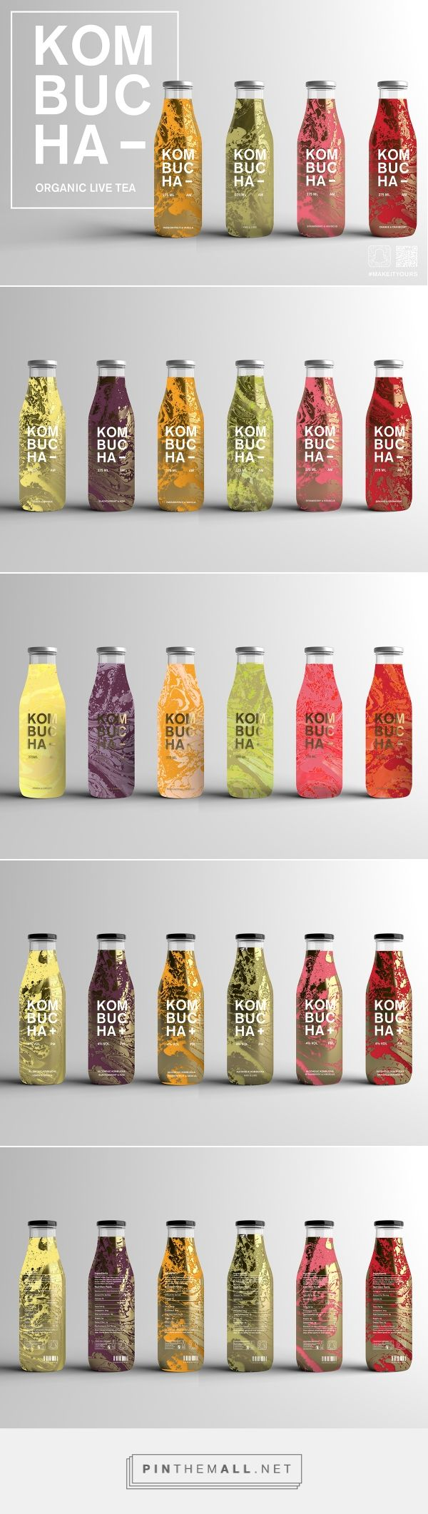 Kombucha concept by Molly Watkins. Source: Behance. PIn curated by #SFields99 #packaging #design #inspiration #kombucha #bottle #concept