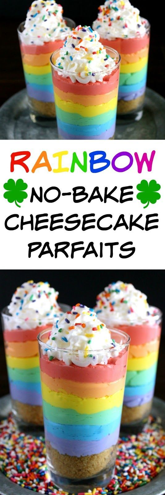 Rainbow No-Bake Cheesecake Parfaits from http://LoveandConfections.com