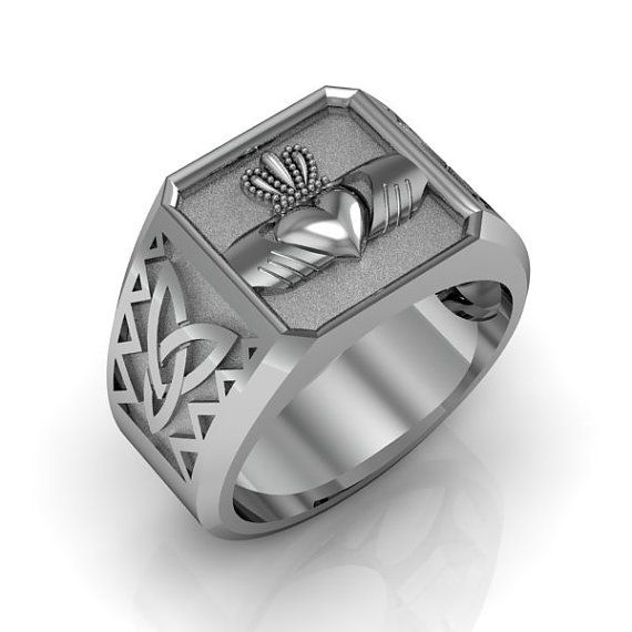 Claddagh Ring - Sterling Silver Irish Heart Mens Celtic and Claddagh Ring    Metal: .925 Sterling Silver    Weight: 10 grams (average)