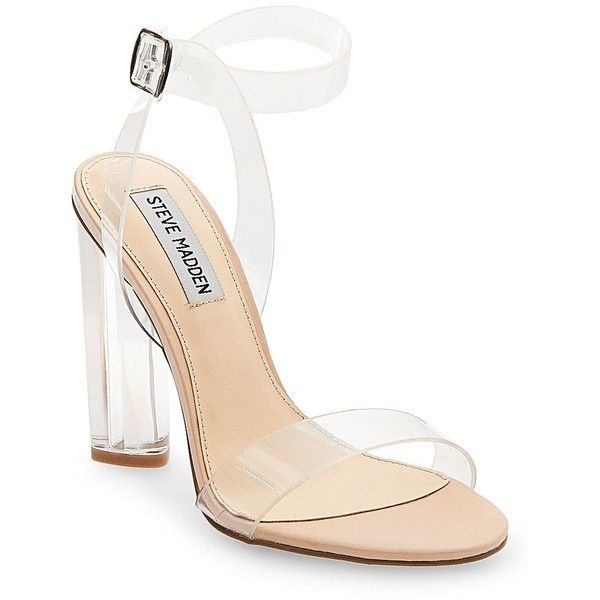 Steve Madden Teena Ankle-Strap Sandals (£67) ❤ liked on Polyvore featuring men's fashion, men's shoes, men's sandals, shoes, heels, clear, strappy sandals, steve madden sandals, ankle tie sandals and ankle strap sandals