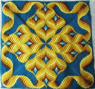 Bargello needlepoint, border and four-way Bargello motifs - love the design.
