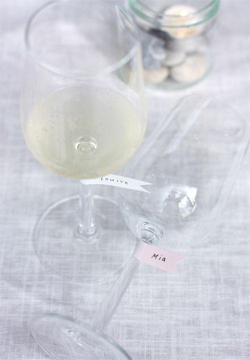 washi tape wineglass tags