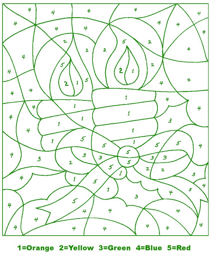 kids holiday crafts christmas color by number candle - Christmas Coloring Pages Number