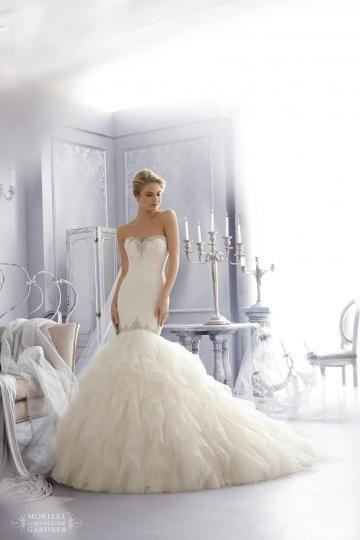 Robes de mariée 2015 tulle sirène sans manches traîne chapelle zip