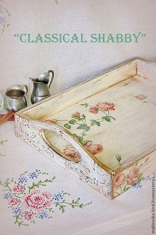 """Купить """"Classical Shabby"""" - поднос с розочками - белый, шебби-шик, шебби шик, потертости, розы"""