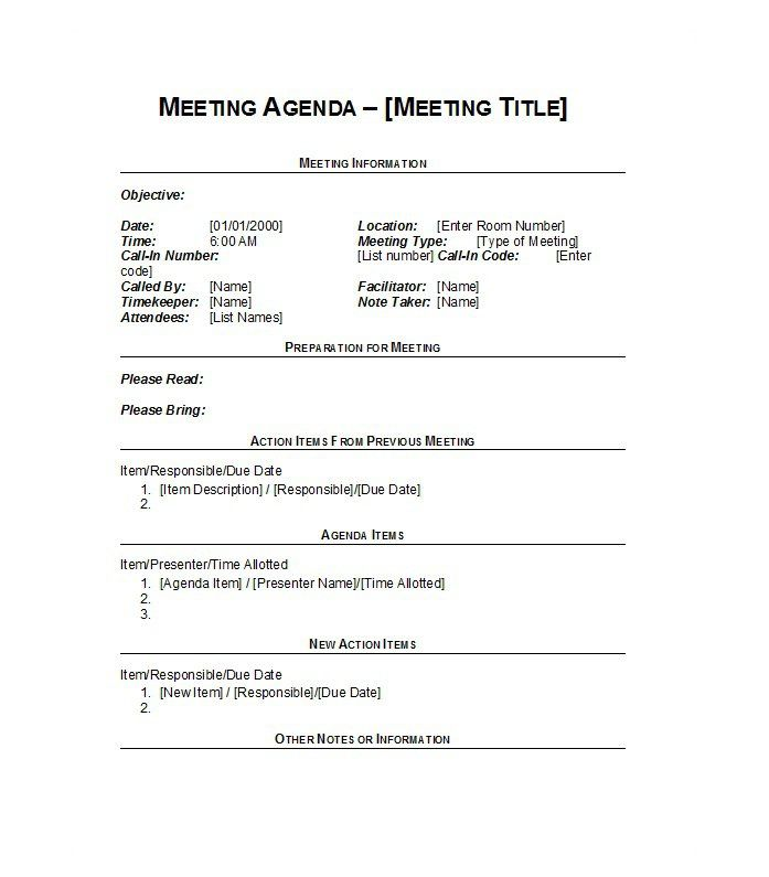 Meeting Agenda Template 16  Agenda Template Meeting