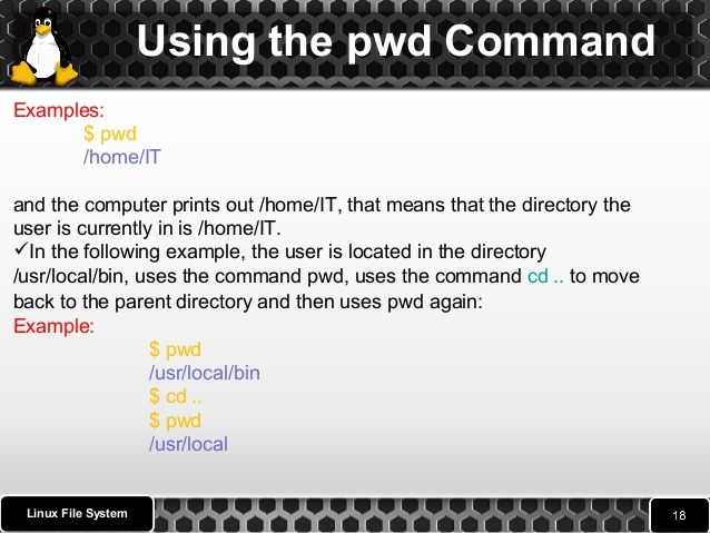 Using the cd Command   The Linux cd command stands for change directory.   It is the primary command for moving between ...