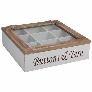 CAMPAGNE - Коробка  Короб для хранения швейных принадлежностей. Деревянная коробка, стекло, следы потертостей дарят неповторимый шарм.  Размеры: 30 x 30 x 9 см 240-00