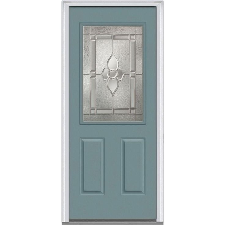 Milliken Millwork 37.5 in. x 81.75 in. Master Nouveau Decorative Glass 1/2 Lite 2 Panel Painted Majestic Steel Exterior Door, Riverway