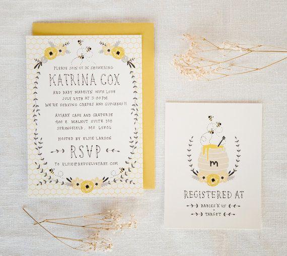 Baby Shower Invitation et carte de Registre - abeille à miel. Bébé fille ou bébé garçon
