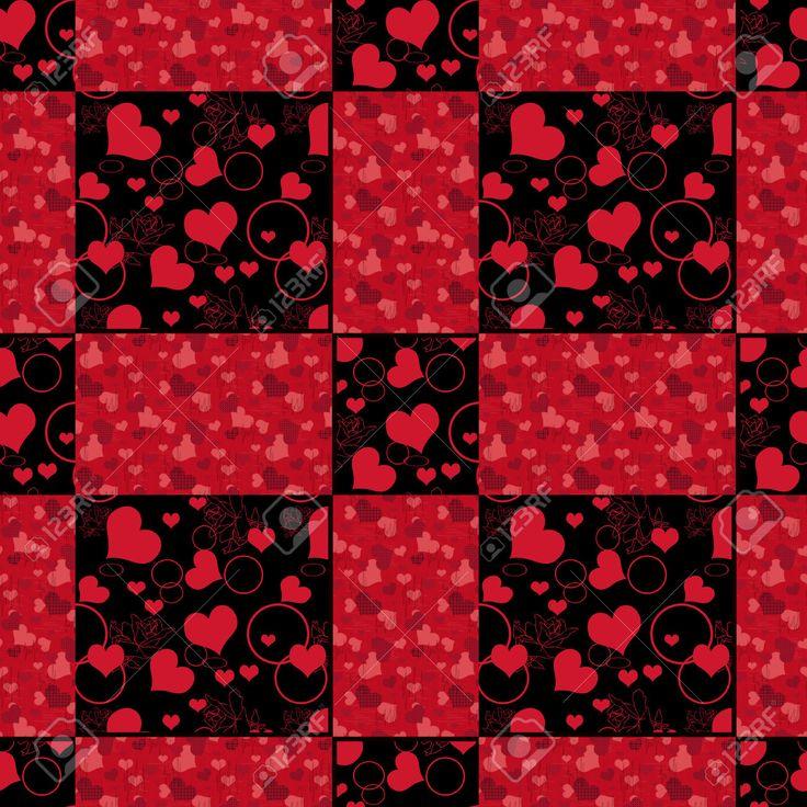 Бесшовные сердца лоскутное шаблон дизайна ретро фон красные сердца, День Святого…