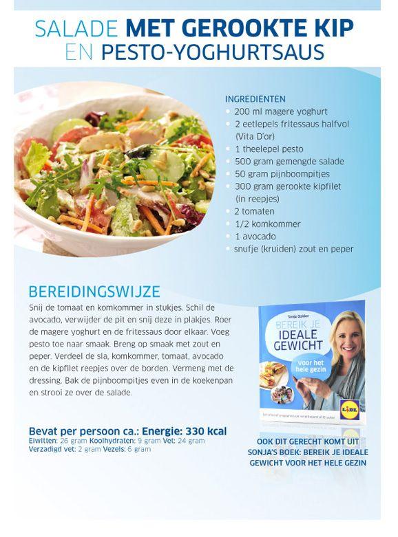 Salade met gerookte kip en pestoyoghurtsaus Lidl - Sonja Bakker