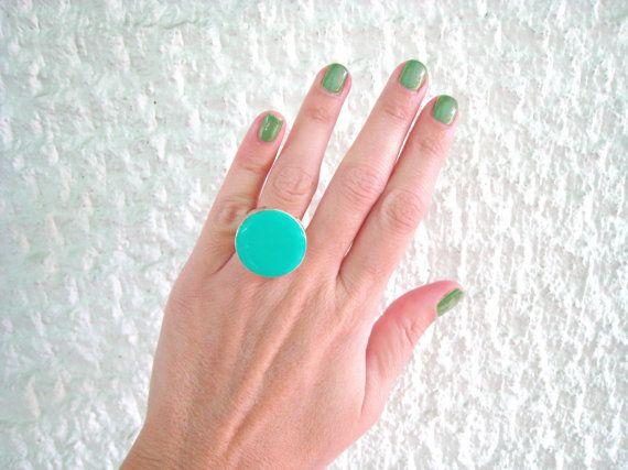 Mint green ring light green resin ring round ring modern