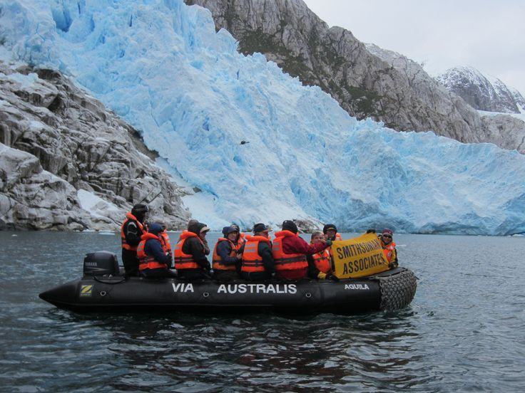 Take inflatable Zodiacs to Aguila Glacier, which you approach via an easy walk on the shore of a lagoon.