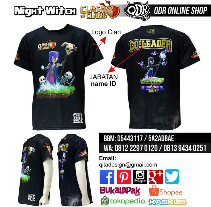 Night Witch (Jersey Clash of CLans) Bahan: Dry-fit printing: sublimasi untuk pemesanan: BBM D5443117 / 5A2ADBAE (Qdr online shop) WA/LINE 081222970120 / 081294340251