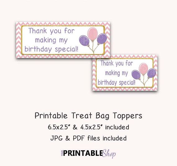 Birthday Treat Bag Topper Girl Birthday Party by YourPrintableShop