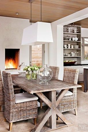 Contemporary Dining Room with Restoration hardware salvaged wood x-base rectangular extension dining table, Pendant light