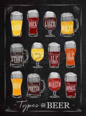 Cartel tipos de cerveza con los principales tipos de cerveza lager pálido, bock, cerveza oscura, trigo, cerveza negra, cerveza rubia, sidra, portero, marzen, Dunkel dibujo con tiza en el estilo de la vendimia en la pizarra.