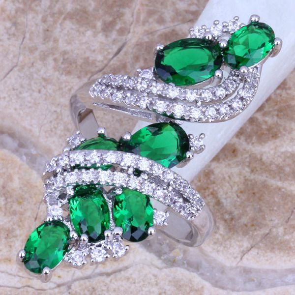 Attractive Green Created Emerald White Topaz 925 Sterling Silver  Ring Size 5 / 6 / 7 / 8 / 9 / 10 / 11 / 12 S0221