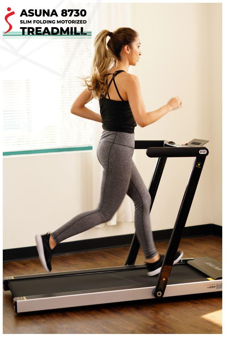 Space saving treadmill motorized low profile slim