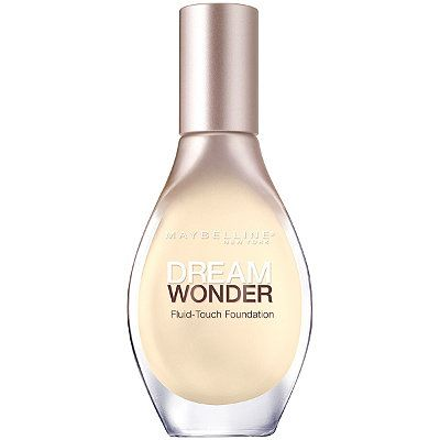 MaybellineDream Wonder Fluid-Touch Foundation in Porcelain Ivory... A very light/natural coverage, this will not cover blemishes and would do best with a primer. The foundation is very liquid-y in consistancy and I'm not sure I fully unerstand the teardrop applicator. 12 shade range, so not too bad but could be better.