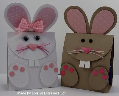 handmade bunny cards ... punch art ... one chocolate and the other vanilla ...  regular rectangulalar base with extended ears  and cut parts ... delightful!!!