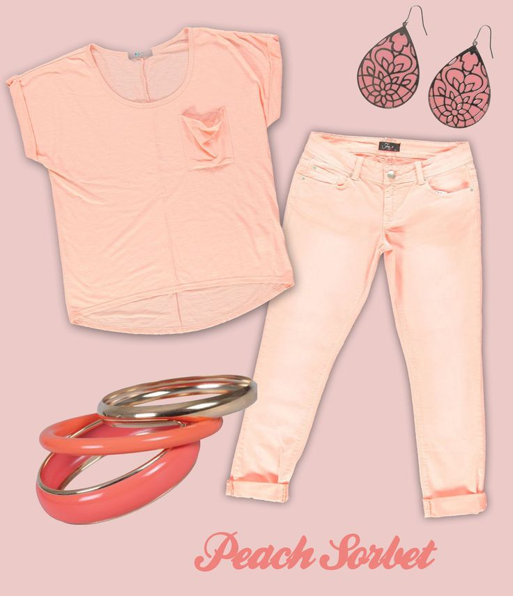 Kelso Slouchy Tee, Free2BU Peach Denim, Accessorize Teardrop Earings, Edgars Peach Bangles (all available @ Edgars)
