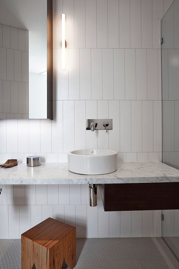 Luxury Modern Bathroom With White Marble Vanity And White Round Sink Also Traditional Wooden Bench And Wooden Cabinets Design Ideas Butter Factory