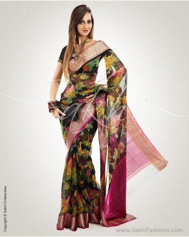 Black & Multi Pure Silk Kota Saree, Rs.7,000. Available at www.sakhifashions.in