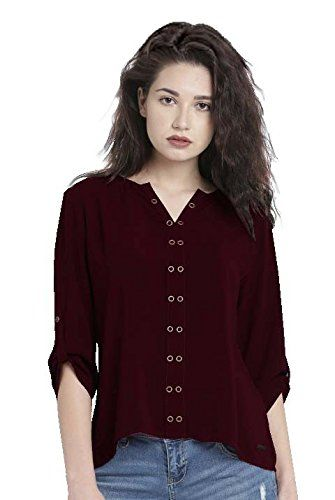 9254bd1edab783 ... online tops at cheap rates. Leriya Fashion Women s Stitched Wine Maroon  Diamond Crepe Plain Western Wear Top (W1123-M)