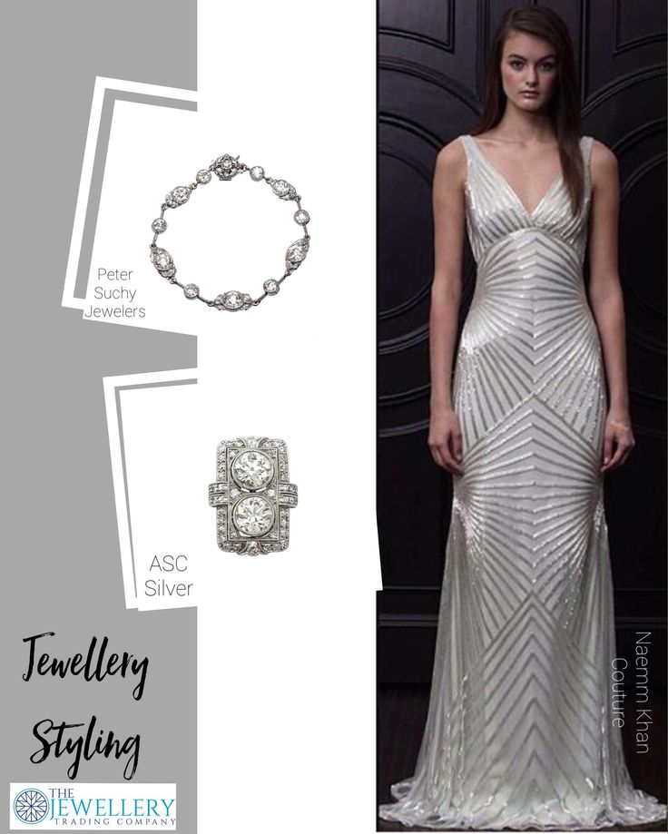 A stunning beaded gown by Naeem Khan NY @couturefeast which has an Art Deco flavour so let's match it with some Art Deco style jewels. A gorgeous 1920's French Diamond & Platinum cocktail ring from ACS and a 14.40ct old European cut diamond bracelet from Peter Suchy Jewellers. Jewels available on 1stDibs.com
