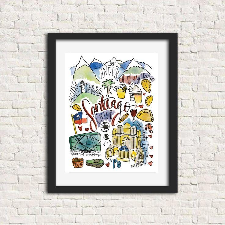 This Santiago print includes : cerro santa lucia, cerro cristobal, ...
