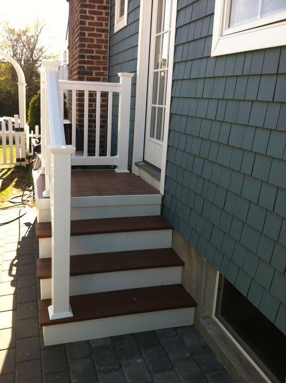 Outdoor Steps with Railing Side Entrance Backdoor Backyard NJ ...