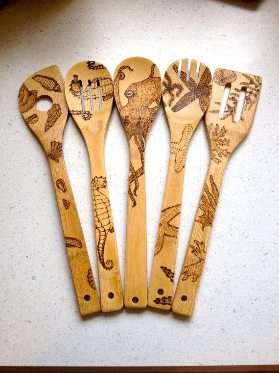Custom Sea Themed Wood Burned Spoons Free Shipping Ocean