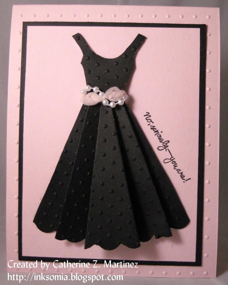 Платья из бумаги на открытку мастер класс