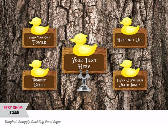 Tangled Party: 12 Snuggly Duckling Food Signs Digital by jstaab